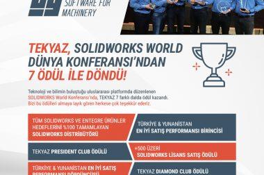 TEKYAZ SolidWorks Ödüllerine Damgasını Vurdu…