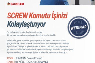 Vidalı Miller için SolidCAM'den Yeni Bir Özellik-Screw Komutu Webinarı